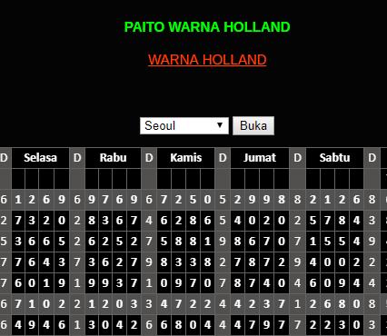 PAITO WARNA HOLLAND | Data Pengeluaran Togel Holland